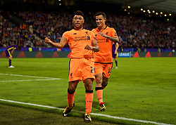 MARIBOR, SLOVENIA - Tuesday, October 17, 2017: Liverpool's Alex Oxlade-Chamberlain celebrates scoring the sixth goal with team-mate Philippe Coutinho Correia during the UEFA Champions League Group E match between NK Maribor and Liverpool at the Stadion Ljudski vrt. (Pic by David Rawcliffe/Propaganda)