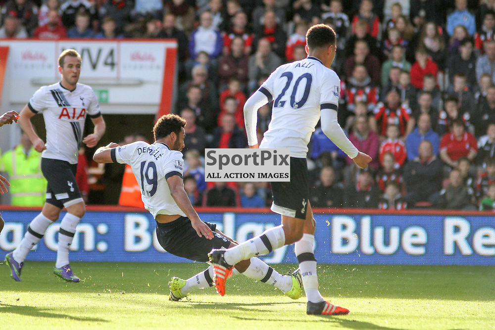 Moussa Dembele slides his goal home During Bournemouth vs Tottenham Hotspur on Sunday 25th of October 2015.