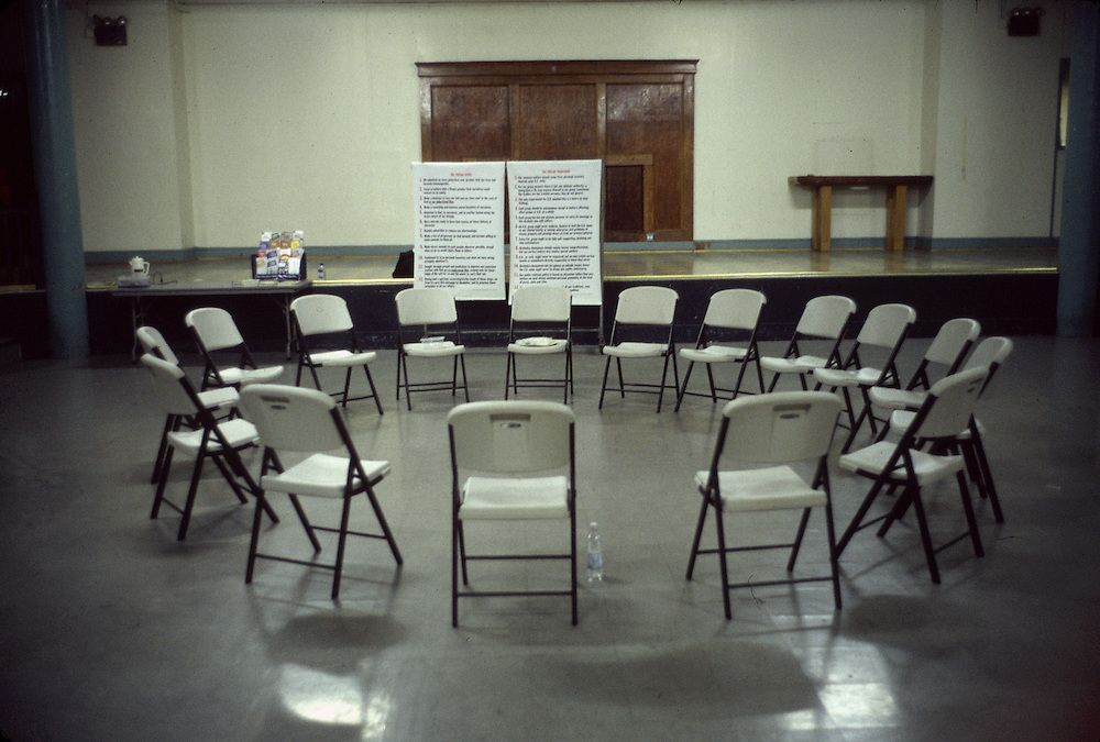 Meeting room of the Alcohol Anonymous 12 step recovery program in New York City.