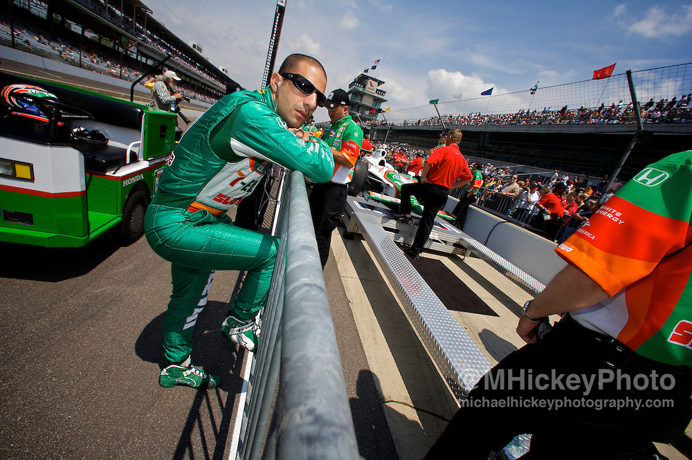 Tony Kanaan of Andretti Green Racing seen during qualifications for the Indy 500 at the Indianapolis Motor Speedway in Indianapolis, In.