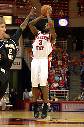 08 January 06  Nedu Onyeuku puts up a 3 pointer before PJ Couisnard arrives.....The Illinois State Redbirds come up short against the Witchita State Shockers.  The Shockers put on a 2nd half show that left the Redbirds trailing 56 - 47 at the bell.  Dana Ford of the Redbirds matched his career high with 16 points, adding 7 boards and 4 steals.....Redbird Arena, Illinois State University  campus, Normal, Illinois