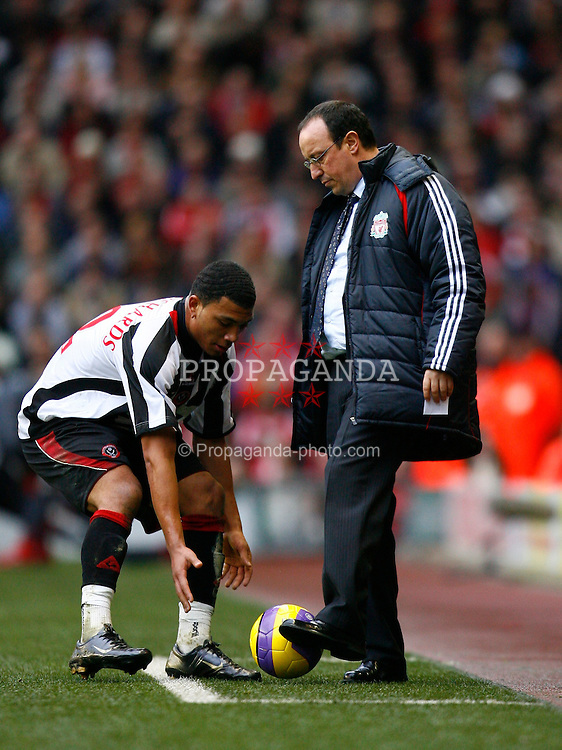 Liverpool, England - Saturday, February 24, 2007: Liverpool's manager Rafael Benitez and Sheffield United's Colin Kazim-Richards during the Premiership match at Anfield. (Pic by David Rawcliffe/Propaganda)
