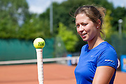 Tennis player Malgorzata Kowalska poses to the picture during 29th Polish National Championships in Amateur Tennis on Warszawianka Courts in Warsaw, Poland.<br /> <br /> Poland, Warsaw, July 17, 2013<br /> <br /> Picture also available in RAW (NEF) or TIFF format on special request.<br /> <br /> For editorial use only. Any commercial or promotional use requires permission.<br /> <br /> Photo by &copy; Adam Nurkiewicz / Mediasport