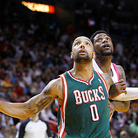 22 January 2012:  Milwaukee Bucks power forward Drew Gooden (0) vies for the rebound with Miami Heat power forward Udonis Haslem (40) during the Milwaukee Bucks 91-82 victory over the Miami Heat at the AmericanAirlines Arena, Miami, Florida, USA.