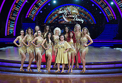 Gemma Atkinson, Alexandra Burke, Susan Calman, Debbie McGee, Nadiya Bychkova, Katya Jones and Oti Mabus posing during photocall before the opening night of Strictly Come Dancing Tour 2018 at Arena Birmingham in Birmingham, UK. Picture date: Thursday 18 January, 2018. Photo credit: Katja Ogrin/ EMPICS Entertainment.