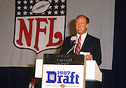 NFL Commissioner Pete Rozelle announces a draft pick during the 1987 NFL Draft on April 28, 1987 in New York. (©Paul Anthony Spinelli)