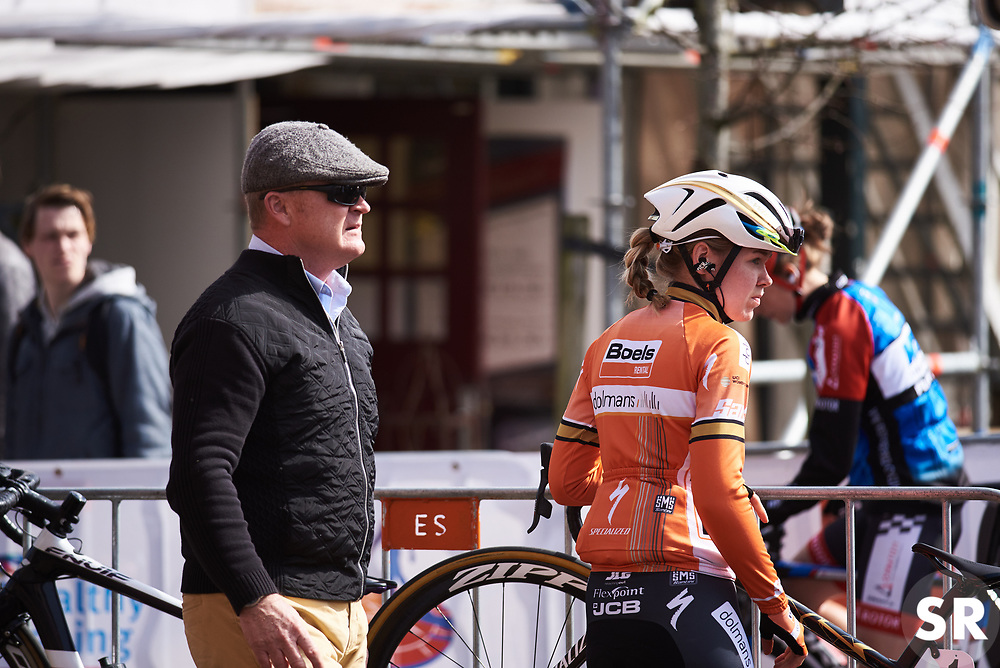 Anna van der Breggen (NED) makes her way to sign on at Healthy Ageing Tour 2018 - Stage 4, a 143 km road race starting and finishing in Winsum on April 7, 2018. Photo by Sean Robinson/Velofocus.com