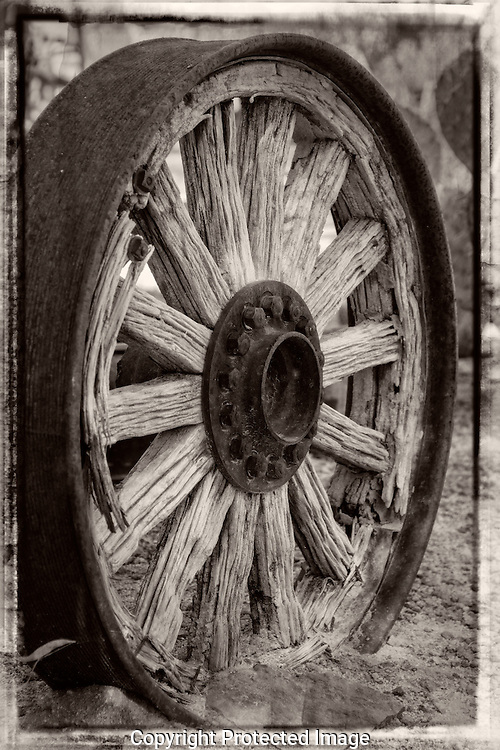No flat tires with this wagon wheel just broken wooden spokes
