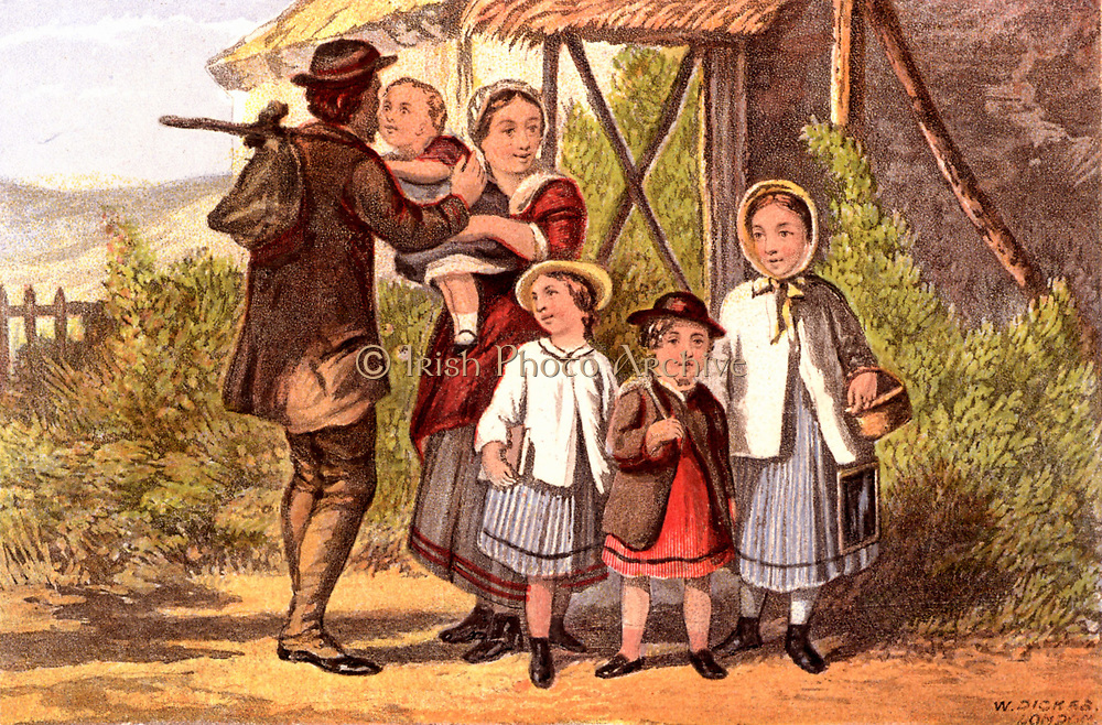 Monday Morning: father going to work with food tied up in a cloth, saying goodbye to his family. The three older children leave for school.  The girl on the right has her writing slate hanging from her waist.  From 'Household Pictures for Home and School'. Chromolithograph c1890.