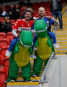 Middlesbrough fans with inflatable dinosaur fancy dress during the EFL Sky Bet Championship match between Rotherham United and Middlesbrough at the AESSEAL New York Stadium, Rotherham, England on 5 May 2019.