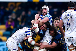 Nick Schonert of Worcester Warriors is tackled by Dave Attwood of Bath Rugby and Tom Ellis of Bath Rugby - Mandatory by-line: Robbie Stephenson/JMP - 05/01/2019 - RUGBY - Sixways Stadium - Worcester, England - Worcester Warriors v Bath Rugby - Gallagher Premiership Rugby
