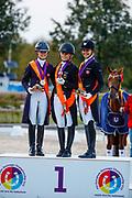 Podium U25 Individual 1. Jil Marielle Becks, 2. Charlotte Fry, 3. Victoria Vallentin<br /> FEI European Championships U25 2018<br /> © DigiShots