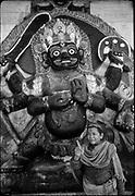 Bhairav or Bhairab refers to Bhairava, a fierce manifestation of Lord Shiva. Hindu religion. Kathmandu Durbar Square.