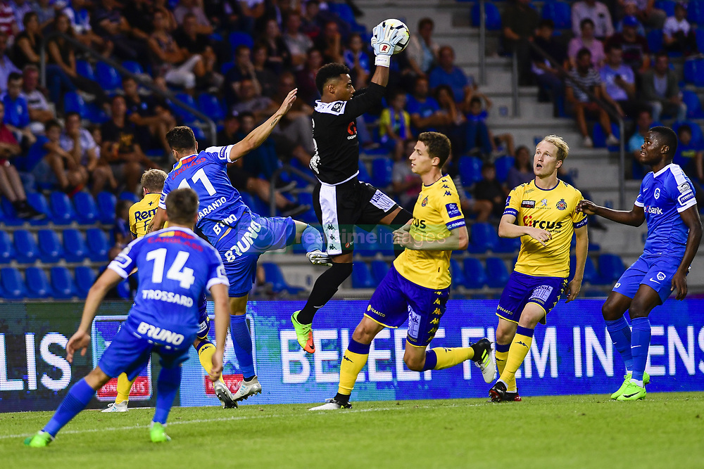 July 29, 2017 - Genk, BELGIUM - Waasland-Beveren's goalkeeper Merveille Goblet stops the ball during the Jupiler Pro League match between RC Genk and Waasland-Beveren, in Genk, Saturday 29 July 2017, on the first day of the Jupiler Pro League, the Belgian soccer championship season 2017-2018. BELGA PHOTO LAURIE DIEFFEMBACQ (Credit Image: © Laurie Dieffembacq/Belga via ZUMA Press)