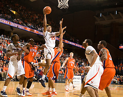 Virginia guard Sylven Landesberg (15) hits the game tying basket with seconds remaining in the second half to force an overtime session against Clemson.  The Virginia Cavaliers defeated the #12 ranked Clemson Tigers in overtime 85-81 at the John Paul Jones Arena on the Grounds of the University of Virginia in Charlottesville, VA on February 15, 2009.