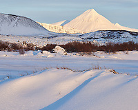 Winter in Borgarfjörður, Iceland. Mount Baula in background.
