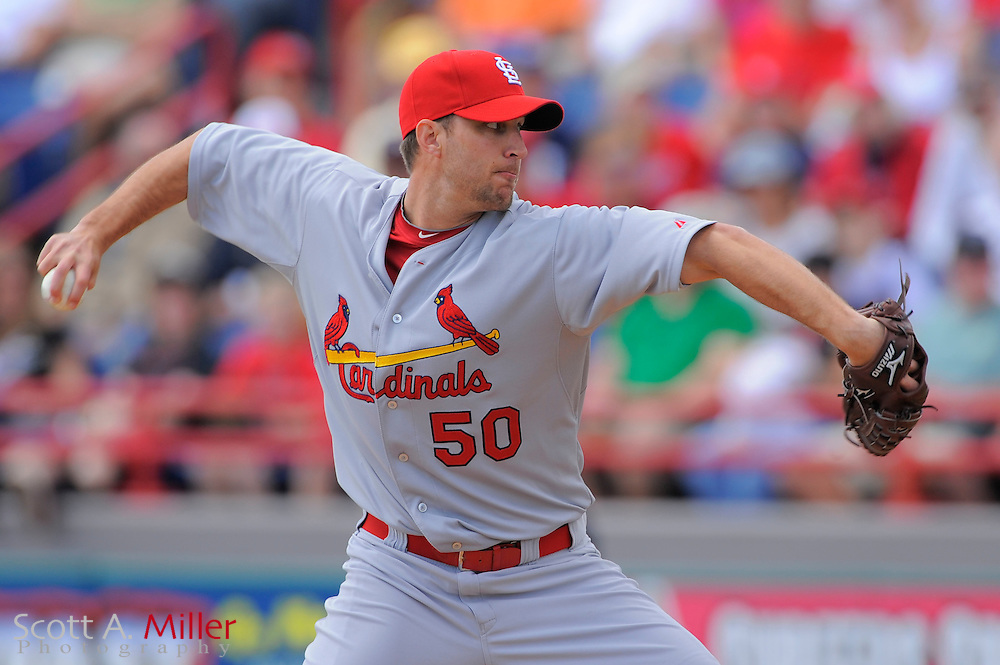 March 14, 2010; Viera, FL, USA; St. Louis Cardinals starting pitcher Adam Wainwright (50) during the Cardinals game against the Washington Nationals at Space Coast Stadium. ©2010 Scott A. Miller