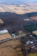 Aerial photograph of Man Mound County Park, a Native American effigy mound, in Sauk County, Wisconsin, USA.