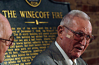 Rick Roberts (cq) at The Spotted Dog--which used to house Fire Station 11--during a commemoration to mark the 60th anniversary of the Winecoff Hotel fire in downtown Atlanta. Roberts, a firefighter at the time who went on to become battalion chief, is credited with helping to save several of the survivors. The fire--at 119 deaths, the worst hotel fire in U.S. history--caused departments across the country to update their fire safety codes.