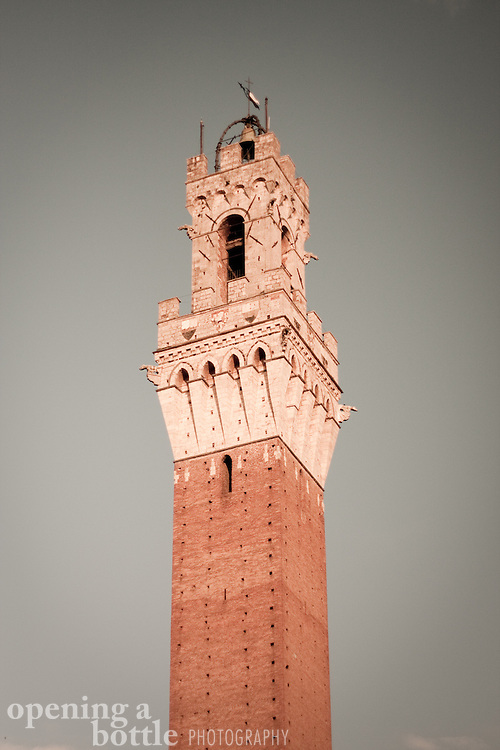 Torre del Mangia in sepia tone. Full color version available upon request. Siena, Tuscany, Italy.