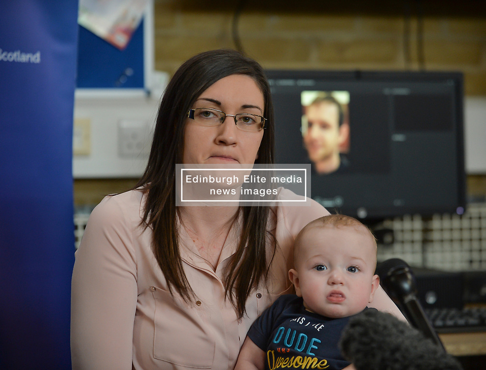 Pictured: Ross' partner Laura D'Arcy and the couple's six month old son, Lewis.<br /> <br /> Police and the partner of missing Dalkeith man Ross Taylor, who was last seen on the 31st of March, held an appeal at Dalkeith police station. <br /> © Dave Johnston / EEm