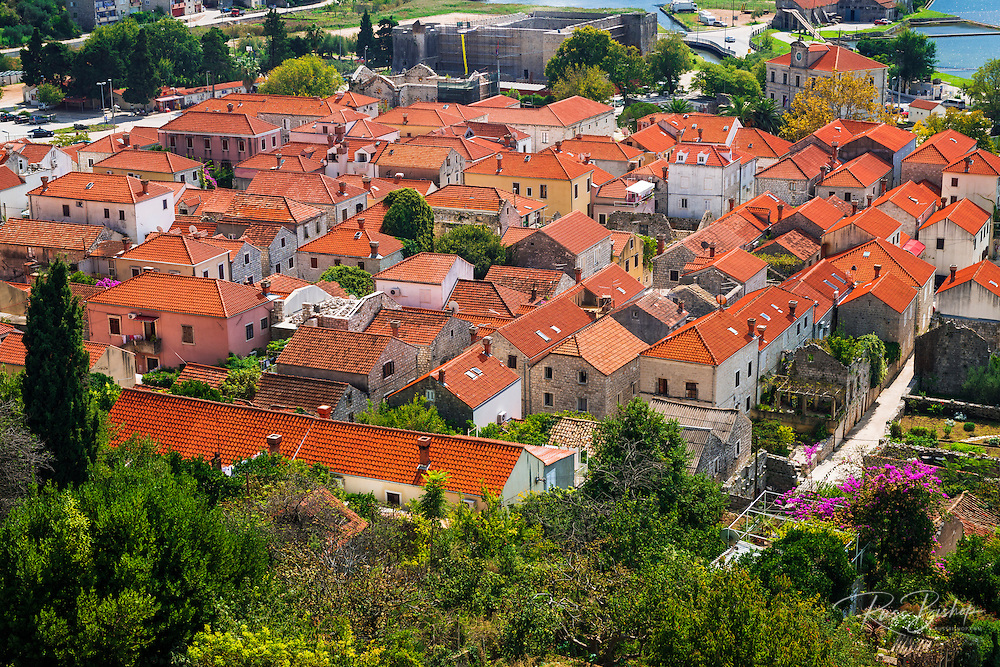 The town of Ston from the Great Wall, Ston, Dalmatian Coast, Croatia