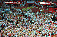 Poland's fans support their team while volleyball final match between Brazil and Poland during the 2014 FIVB Volleyball World Championships at Spodek Hall in Katowice on September 21, 2014.<br /> <br /> Poland, Katowice, September 21, 2014<br /> <br /> For editorial use only. Any commercial or promotional use requires permission.<br /> <br /> Mandatory credit:<br /> Photo by © Adam Nurkiewicz / Mediasport