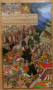 The Siege of Chitor (right side) from the Akbarnama (book of Akbar). Composition by Miskina, painting by Sarwan.  Opaque watercolour and gold on paper Mughal c 1590-5.  The Mughal attack on the seemingly impregnable Hindu fortress of the king Chitor in Rajasthan took place in 1567-8.