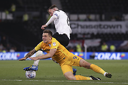 Richard Keogh of Derby County tackles Jordan Hugill of Preston North End for possession - Mandatory by-line: Ryan Crockett/JMP - 15/08/2017 - FOOTBALL - Pride Park Stadium - Derby, England - Derby County v Preston North End - Sky Bet Championship