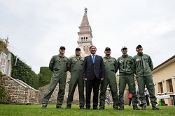 After two months of restoration, the Statue of Archangel Michael, made of copper plate, returned to Piran. The image shows Karl Erjavec, minister of defence, with pilots and climbers of 151st Rotary Wing Squadron after helicopter placing it on top of the church's clock, on October 15, 2018 in Piran, Slovenia. Photo by Matic Klansek Velej / Sportida