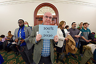 Mineola, New York, USA. February 15, 2019.  NYS Senate Public Hearing on Climate and Community Protection Act, Bill S7253, sponsored by Senator Todd Kaminsky, Chair of Senate Standing Committee on Environmental Conservation. This last of 3 public hearing on bill to fight climate change was on Long Island.