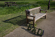 A park bench dedicated to a dead relative in the south London public space called Ruskin Park.