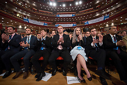 The audience during the final day of the Conservative party conference at the International Convention Centre, ICC, Birmingham. Wednesday October 5, 2016. Photo credit should read: Isabel Infantes / EMPICS Entertainment.