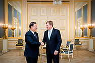THE HAGUE - King Willem-Alexander receives the president of Panama, Juan Carlos Varela, in audience at Noordeinde Palace. copyrught robin utrecht