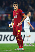 Diego Perotti of Roma before kicking the penalty during the UEFA Europa League, Group J football match between AS Roma and Wolfsberg AC on December 12, 2019 at Stadio Olimpico in Rome, Italy - Photo Federico Proietti / ProSportsImages / DPPI