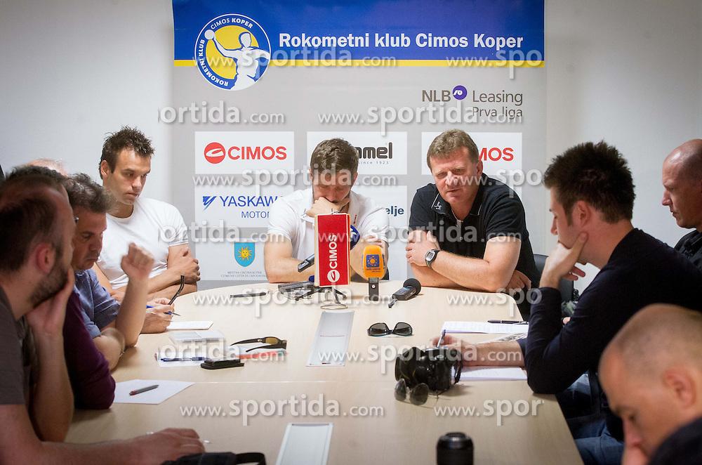Matjaz Brumen, Uros Rapotec and Fredi Radojkovic, head coach  at press conference of RK Cimos Koper about financial crisis in the club on May 22, 2013 in Arena Bonifika, Koper, Slovenia. (Photo By Vid Ponikvar / Sportida)