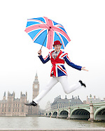Jumping British man in Union Jack