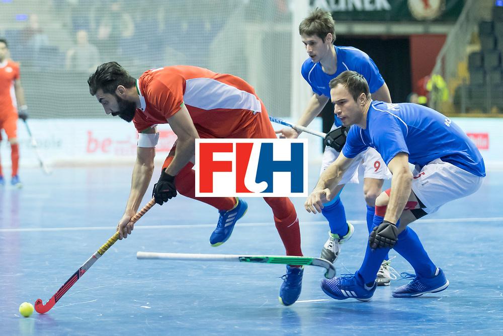Hockey, Seizoen 2017-2018, 09-02-2018, Berlijn,  Max-Schmelling Halle, WK Zaalhockey 2018 MEN, Iran - Czech Republic 2-2 Iran Wins after shoutouts, Behdad Beiranvand and Tomas Prochazka.