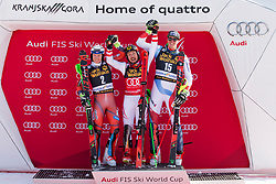 Second placed Henrik Kristoffersen (NOR), Winner Marcel Hirscher (AUT) and Third placed Ramon Zenhaeusern (SUI) during flower ceremony after Men's Slalom race of FIS Alpine Ski World Cup 57th Vitranc Cup 2018, on March 4, 2018 in Kranjska Gora, Slovenia. Photo by Urban Urbanc / Sportida
