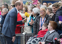 February 28, 2019 - Ballymena, United Kingdom - Image licensed to i-Images Picture Agency. 28/02/2019.  Ballymena, Northern Ireland, United Kingdom. The Duke of Cambridge on a walkabout outside the Braid Centre in Ballymena on the second day of his  trip to Northern Ireland. (Credit Image: © Stephen Lock/i-Images via ZUMA Press)