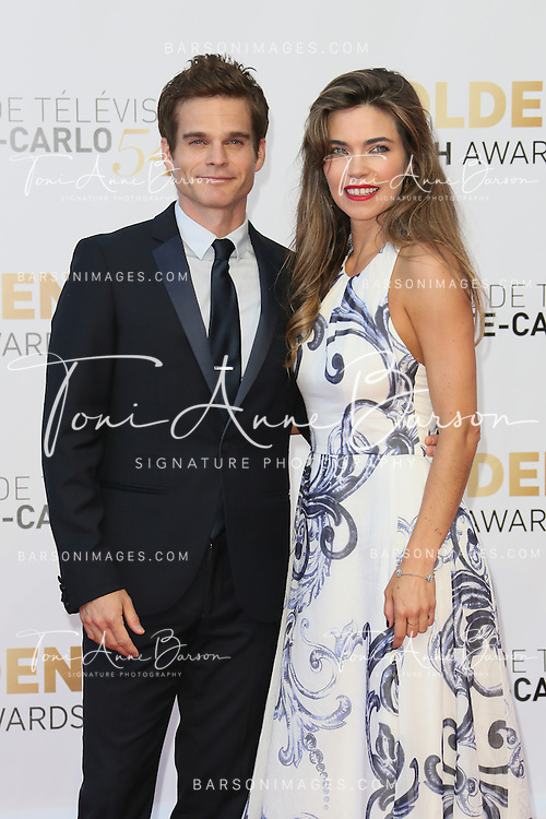 MONTE-CARLO, MONACO - JUNE 11:  Greg Rikaart and Amelia Heinle attend the Closing Ceremony and Golden Nymph Awards of the 54th Monte Carlo TV Festival on June 11, 2014 in Monte-Carlo, Monaco.  (Photo by Tony Barson/FilmMagic)