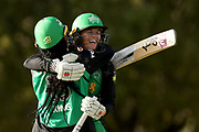 Erin Osborne celebrates after Alana King hits 6 to win the game, Women's Big Bash League (WBBL) match between Melbourne Stars and Adelaide Strikers at Karen Rolton Oval in Adelaide, Friday, December 21, 2018. (AAP Image/Kelly Barnes) NO ARCHIVING, EDITORIAL USE ONLY, IMAGES TO BE USED FOR NEWS REPORTING PURPOSES ONLY, NO COMMERCIAL USE WHATSOEVER, NO USE IN BOOKS WITHOUT PRIOR WRITTEN CONSENT FROM AAP