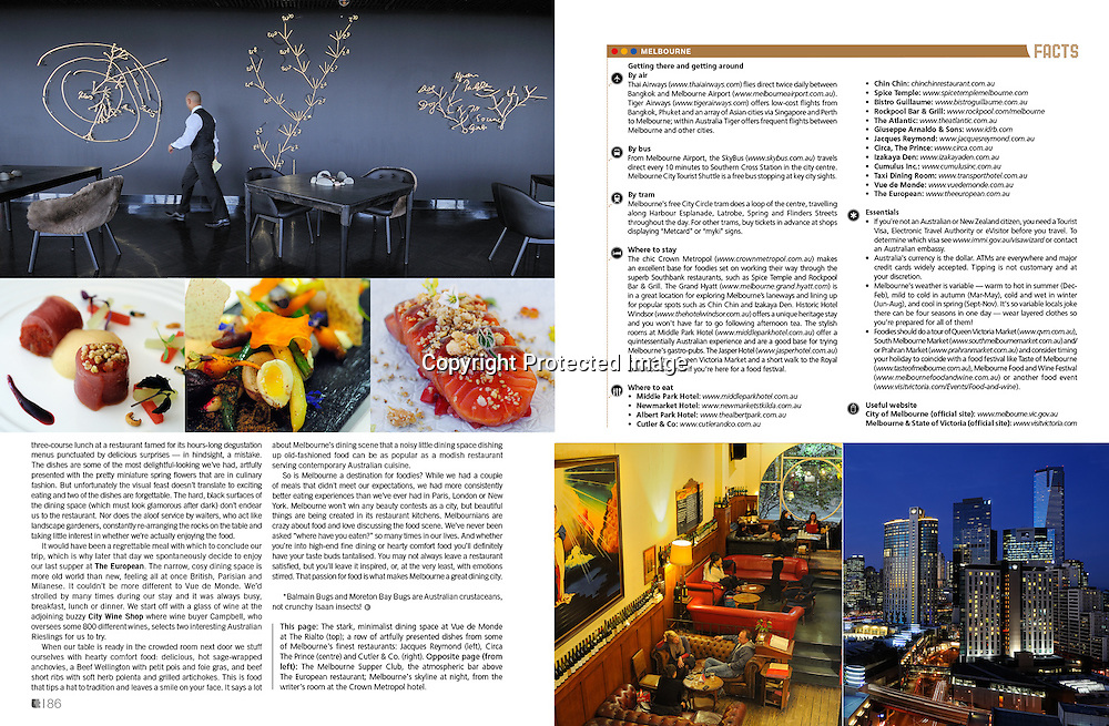 Lifestyle+Travel Magazine feature on Melbourne's food scene.