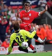11.09.1999, Anfield Road Stadium, Liverpool, England. FA Premiership, Liverpool v Manchester United. Michael Owen (Liverpool) v Massimo Taibi (ManU)..©JUHA TAMMINEN