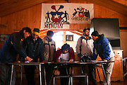 The recently elected committee of Mehuin`s fishermen and divers union sign for its legal period.<br /> The Community of Mehuin, in southern Chile, have been struggling for more than ten years to prevent that CELCO (Arauco Cellulose), a major cellulose industry, builds a pipeline to throw away their industrial waste into the sea causing great impact in the ecosystem and their fishing and diving way of making a living.