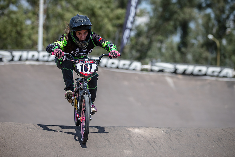 #107 (TIMIS BRIONES Martina Paz) CHI during practice at round 1 of the 2018 UCI BMX Supercross World Cup in Santiago del Estero, Argentina.
