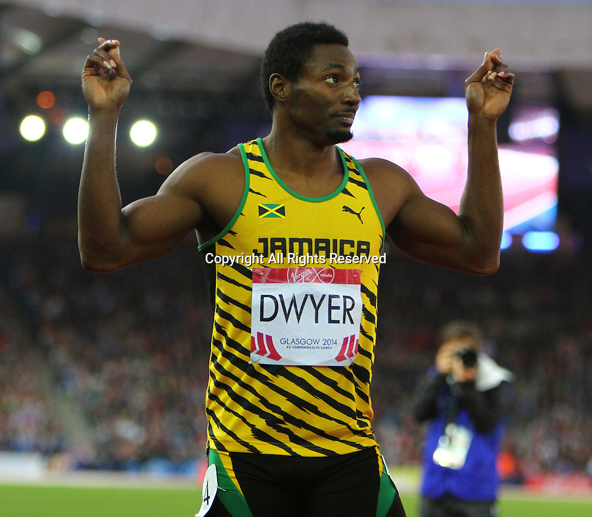 31.07.2014. Glasgow, Scotland. Glasgow Commonwealth Games. Men's 200m final from Hampden Park. Rasheed Dwyer won gold for Jamaica