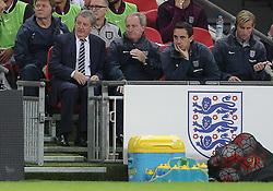 England manager, Roy Hodgson ( L ) looks on - Mandatory byline: Paul Terry/JMP - 07966 386802 - 09/10/2015 - FOOTBALL - Wembley Stadium - London, England - England v Estonia - European Championship Qualifying - Group E