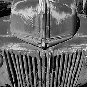 Classic Ford Truck Front End - Motor Transport Museum - Campo, CA - Black & White