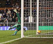 Ipswich goalkeeper Dean Gerken beaten by Ross McCormack during the Sky Bet Championship match between Fulham and Ipswich Town at Craven Cottage, London, England on 15 December 2015. Photo by Matthew Redman.